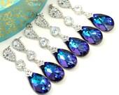 SALE Set of 4 5 6 7 8 pairs Purple Bridal Earrings Wedding Earrings Swarovski Heliotrope Earrings Bridesmaid Earrings Wedding Jewelry HE32PC