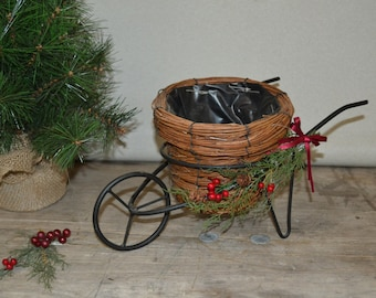 Farmhouse Wheel Barrow Planter Cart Garden Decor