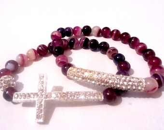 Cross Bracelet Set. Cross Bracelet. Agate Gemstone Cross. Cross Jewelry. Gemstone Bracelet. Beaded Cross. Stretch Bracelet. Sideways Cross.
