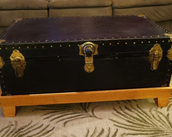Trunk Coffee Table with Wood Base, Vintage, Black, Upcyled