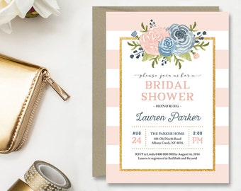 Bridal Shower Invitation \ Baby Shower Invitation \ Printable Invitation \ Blush & Navy Invitation (BR185)