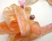 Pink and Gold Silk Ribbon - Torn Silk Ribbon for Textile Art - Felting Supplies - Tropical Frangipani - 2m