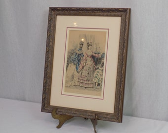"""Professionally Framed Antique Godey""""s Fashion For December Print - Victorian French Bridal Artwork - Art Nouveau Wall Hanging for Her"""