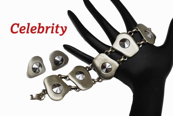 Celebrity Link Bracelet Earring Set  -  gun Metal silver tone modern design -Marcasite - clip on earrings