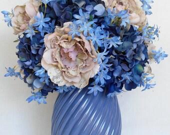 Artificial Flower Arrangement, Light Dusty Mauve Lacy Peonies, Dark & Light Blue Hydrangea,Blue Spiral Vase, Floral Home Decor, Decor,