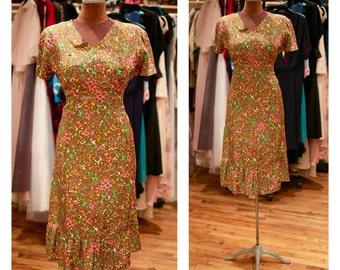 1960s Floral Print Silk Garden Party Midi Dress Fall Dress with Ruffle Hem Vintage Patterned Day Dress Shift Dress Wiggle Dress