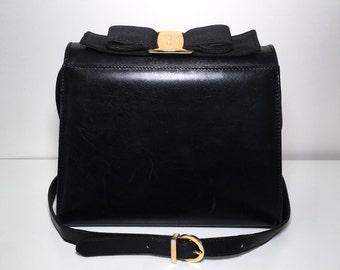 Black Leather Salvatore Ferragamo Bag Vintage 1980s Ferragamo Bow Crossbody Bag Box Purse Designer Evening Handbag Shoulder Bag