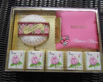 SALE vintage new in box PRESTIGE Rose Garden BATH Set Roses in Bloom Bath Cubes Round Soap Pink Satin Sachet