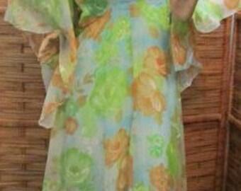 HALLOWEEN 1970's Montgomery Ward floral maxi DRESS flower child Theater Costume