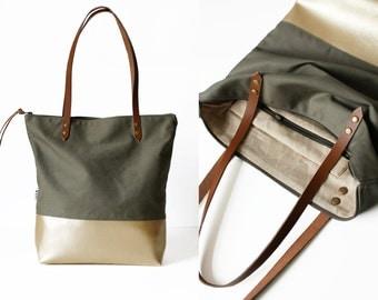 big tote bag fabric daybag olive gold sac shoulder bag large handmade plain with zipper