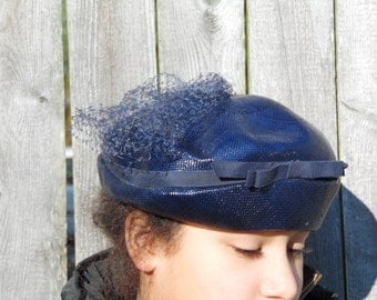 vintage blue hat with ribbon and veil