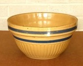 Yellow Ware Stoneware Mixing Bowl - Blue and Shite Stripes - Dough Bowl