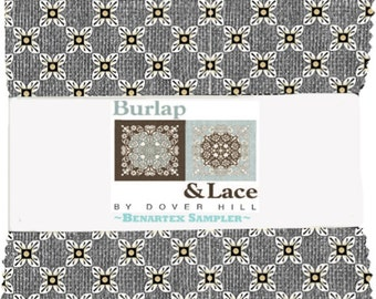 Burlap and Lace by Dover Hill  Pre-Cut 5x5 Fabric Pack 42 pc.  Rustic yet modern and lovely