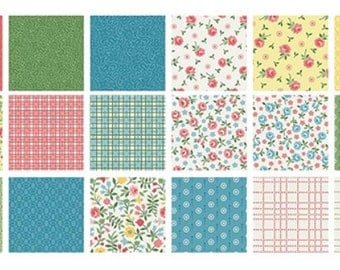 Sunny Days - 5x5 Pre-cut Fabric Pack of 42 pcs  Yellow, Pink, Green, Blue