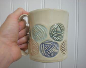 Yarn pattern Mug - sand and sea - hand built pottery