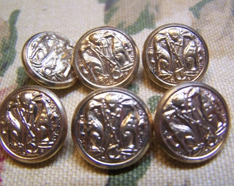 "Vintage 5/8"" Brass Tone Metal Uniform Coat Buttons, Set of 6 (1703)"