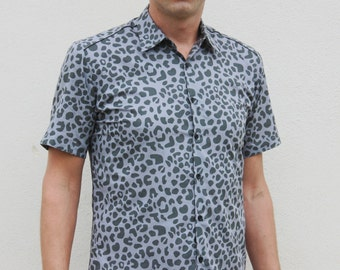 Grey Leopard print shirt, short sleeve - BAÏSAP