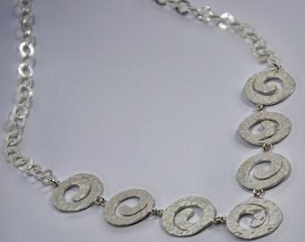 VALENTINE SALE 30% OFF Spirals -Sterling Silver Necklaces  Spiral Necklaces 7 Hammered  Spirals  Hammered Necklaces