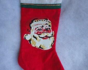 Vintage Red White Felt Christmas Stocking with Plastic Santa Motif, Mid Century Christmas Stocking, Red White Felt Santa Christmas Stocking