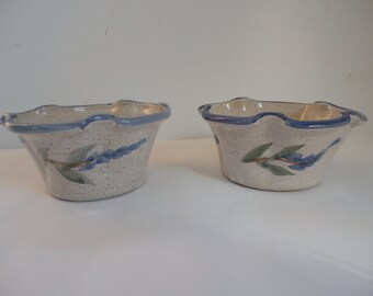 Vintage Pair of Lupine Pottery Bowls Studio Pottery Lupine Bowls Blue Scalloped Bowls Blue Lupine Signed Pottery Purple Lupine Bowls