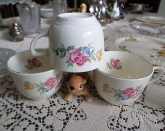 One Set-Vintage Scio Pottery-USA-Hazel-Cabbage Rose/Tulips Coffee/Teacup/Saucer-Six Sets Available
