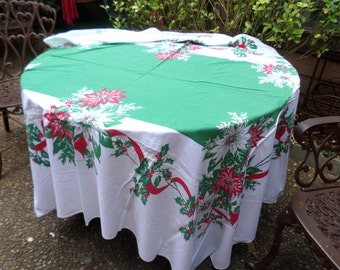 "Vintage 60""x75"" Red/Green Center with Poinsettias and Ribbon Design Linen/Cotton Tablecloth-Christmas Holiday-Serving/Table Decor"