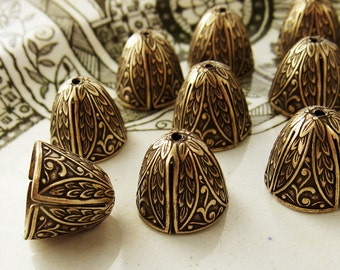 Ornate Large Antiqued Brass OX Art Nouveau Victorian Bead Caps Cone Floral Leaf Embossed Tassel Ends - 4