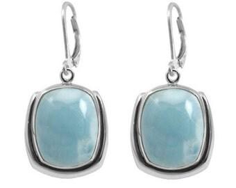Larimar Earrings. Sterling Silver Earrings with Cushion Larimar Stone