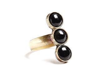 Black Onyx Trio Ring