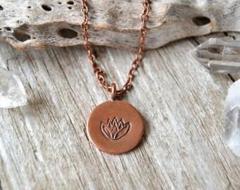 Lotus necklace - yoga jewelry - yoga necklace - copper lotus necklace - lotus jewelry - spiritual jewelry