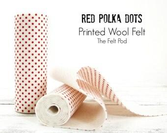 Red Polka Dot Printed Wool Felt // Red Polka Dot Wool Felt // Red Dot Printed Felt