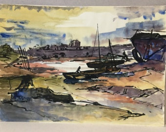 Vintage harbour painting, Watercolour sailing boats at low tide, Sunset seascape, Fishing boats, Strong vibrant colours