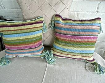 Vintage Pillow - Needlepoint Pillows - Pair - Pillows with Tassels - Multicolour Stripe - Zipper in Back - Velvet Backing - Designer Made
