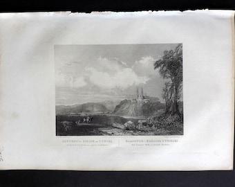 Chodzko Poland 1843 Antique Print. Tyniec Abbey, Krakow
