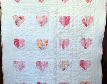 Baby Toddler Hearts Quilt Blanket pink and white patchwork baby toddler girl quilt blanket vintage bedsheet