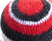 RED WHITE Black Glitter yarn crochet beanie hat  Simple stripes