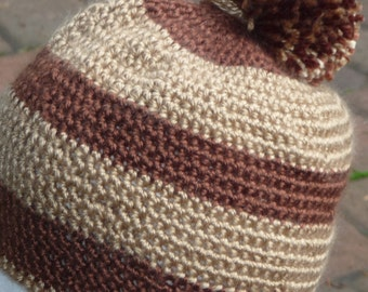 Brown Beige crochet beanie hat with pom pom  Small stitches Soft floppy