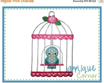 ON SALE INSTANT Download Bird Cage applique design in digital format for embroidery machine by Applique Corner