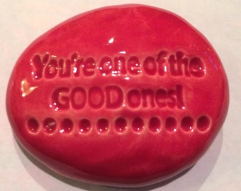 GOOD ONES Pocket Stone - Ceramic - RASPBERRY Art Glaze - Inspirational Art Piece