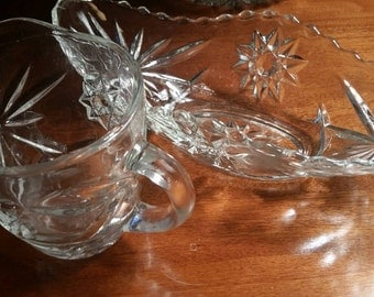 CRYSTAL GRAVY BOAT and pourer