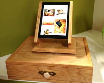 Combination Oak iPad Swivel Stand and Cash Register Drawer
