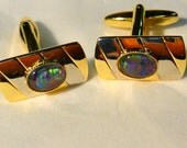 Opal Cufflink  8x6 Oval Triplet Two Tone Gold Plate/ Rhodium Plate item 110139.