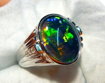 Mens Opal Ring Sterling Silver, Natural Opal Triplet. 16x12mm Oval. item 90608.
