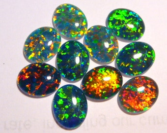 Synthetic Loose Triplet Opal Stones.10 x 8 mm Oval. 10 Pieces. Item 100253.