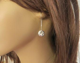 Chain Dot Earrings. Sterling Silver Disc Earrings. Simple Dot Earrings. Drop Earrings. Dangle Earrings. Everyday Earrings.