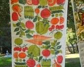 Vintage Vegetable Fruit Tea Towel Bar Cloth Vintage Linen Basket Liner Free Shipping