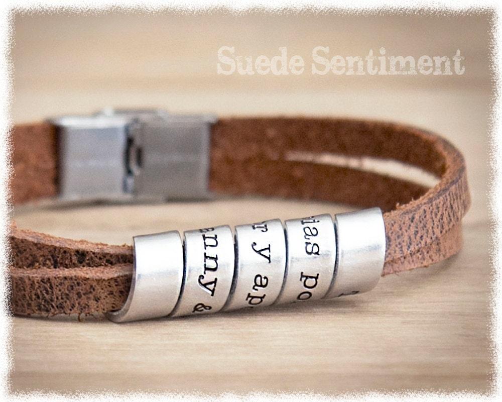 mens personalized bracelet gift for boyfriend by suedesentiment. Black Bedroom Furniture Sets. Home Design Ideas