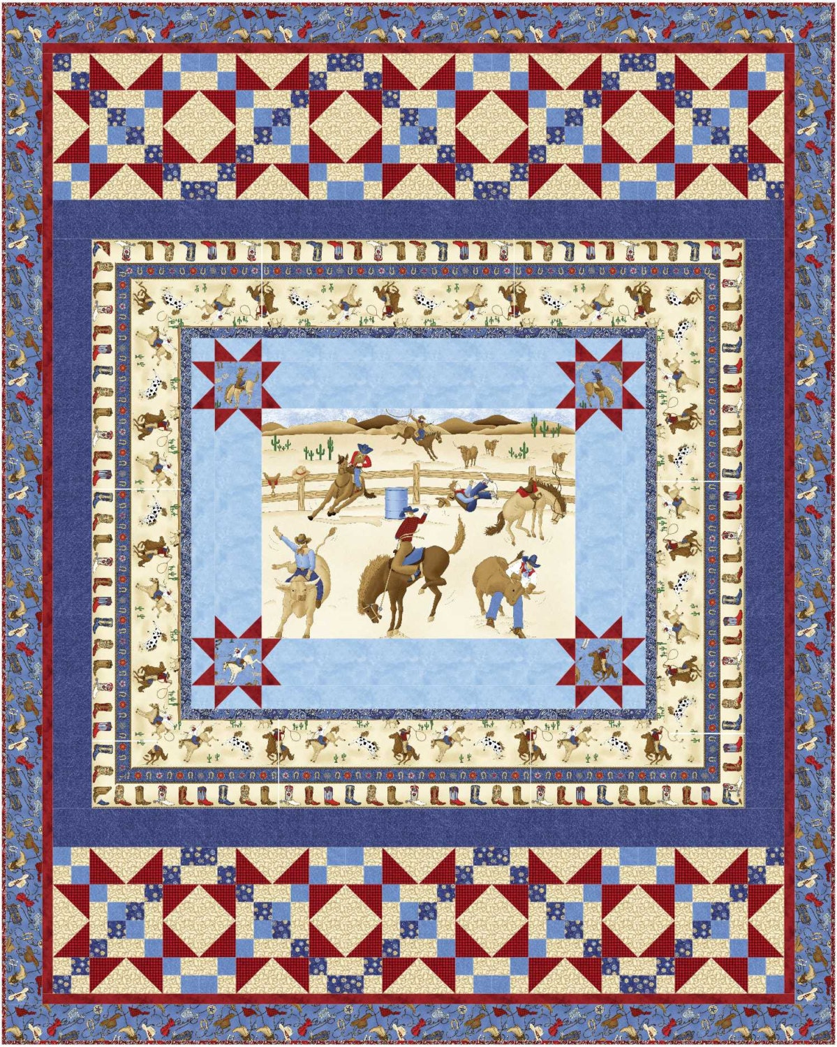 Starring A Panel Quilt Pattern Twin Lap Baby Cowboy