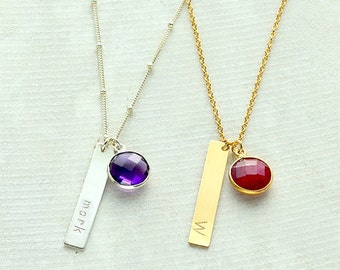 Vertical Bar Necklace, personalized bar necklace gold, Name Plate Necklace, Custom birthstone necklace, Custom Coordinates bar necklace
