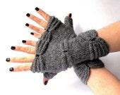 SALE - 50% OFF. Knit Fingerless Gloves. Dark Gray Hand Knit Gloves. Knitted Wrist Warmers. Fingerless Mittens. Knit Mittens. Women Gloves.